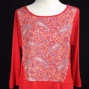 Lucky Brand Sz S Paisley Asymmetrical Blouse Red